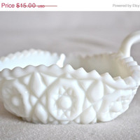 ON SALE Vintage Milk Glass Dish With Handle