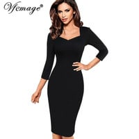 Vfemage Womens Sexy Elegant Slim Casual Work Office Business Party Fitted Sheath Bodycon Dress 2056