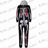 Unisex Mens Skeleton Womens Halloween All in One  Hooded Piece Jumpsuit Onesuit