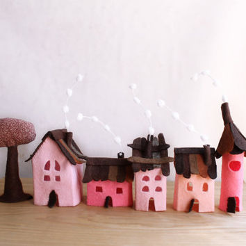 Miniature houses, Small village in pastel pink.