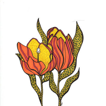 Modern Flower Art - Abstract Botanical Pen & Ink Drawing - orange yellow flower abstract wall art nature home decor by Nikol Wikman