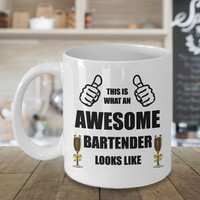 Funny Personalized Awesome Bartender Coffee Mug Birthday Gift For Him Her Men Women Dad Mom Father Mother Boyfriend Girlfriend Customized