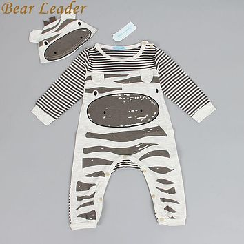 Bear Leader 2017 New style baby boys clothes Zebra gray long-sleeved jumpsuit+hat baby suit 70 packets of foot children clothes