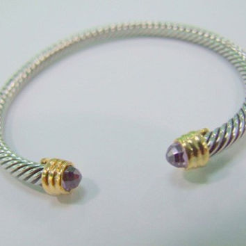 Power Bracelet with Amethyst and Gold 4mm