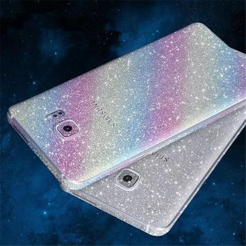 Full Body Shiny Glitter Rainbow Sticker Cover Case For Samsung Galaxy Note 5 4 3 2 Bling Diamond Front+Back Protective Film