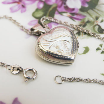 Silver Locket, Heart Locket, Locket Necklace, Photo Locket, Locket and Chain, Silver Necklace, Pendant, Chain Necklace, Rope Chain - 1970s