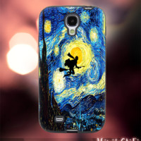 MC12Y,16,Flying,harry potter,Starry Night -Accessories case cellphone- Design for Samsung Galaxy S5 - Black case - Material Soft Rubber