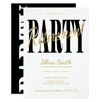 Gold & Black, Modern Retirement Party Invitations