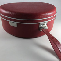 Vintage Rare Red Round Suitcase Samsonite Royal Traveller Circular Luggage Train Case With Key 1950's Mid Century Travel Trip Vacation