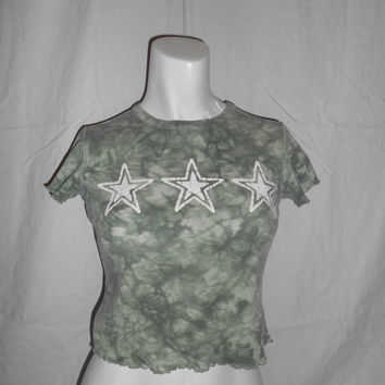 SEXY 90s Vintage   star shirt top half crop   tie dye