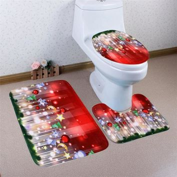 Pedestal Rug + Lid Toilet Cover + Bath Mat bathroom  anti slip floor carpet