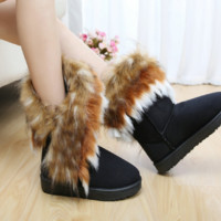 New snow boots imitation fox fur boots in the tube women's boots