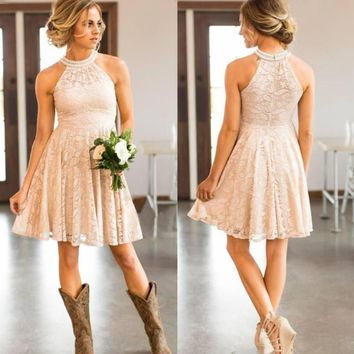 Lace Country Bridesmaids Dresses  Halter Neck Knee-length Wedding