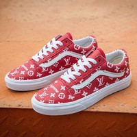 Sale LV x Supreme x Vans Customise Old Skool Red White Casual Shoes Skateboard Shoes GL-03