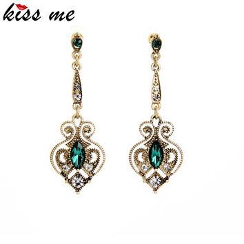 Kiss Me Brand Retro Alloy Heart Drop Earrings for Women Bijoux Summer Trendy Gold Plated Earrings Birthday Gift