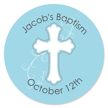 Little Miracle Boy Blue & Gray Cross - Personalized Baptism Sticker Labels - 24 ct