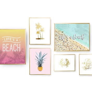 SET of 6 Prints, Beach Wall Art, Life's A Beach, Bedroom Decor, Gold Foil Print, Nautical Prints, Home Decor, Ocean Poster, Beach Set Prints