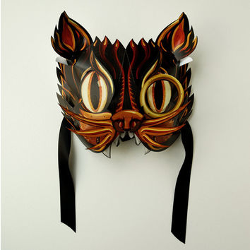Pop Up Paper Mask - Black Alley Cat