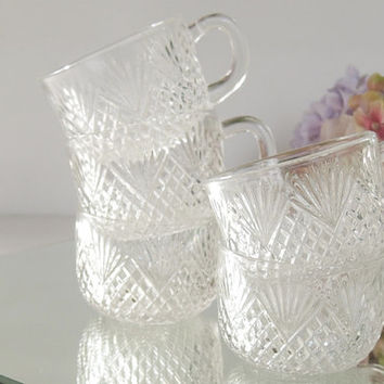 Set of 5 Small Clear Cut Glass Espresso or Tea Cups, Barware, Glassware, Vintage, Princess Tea Party, Hollywood Regency