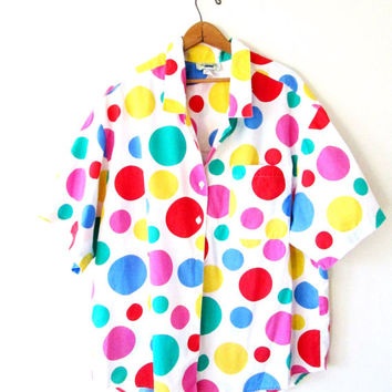 Vintage 1990s WILLOW BAY Rainbow Polka Dot Button Down Shirt Sz 22W/24W Sz XXL