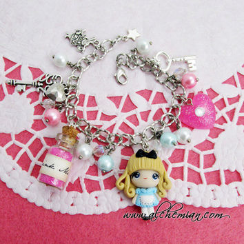 Alice in wonderland thandmade bracelet by AlchemianShop on Etsy