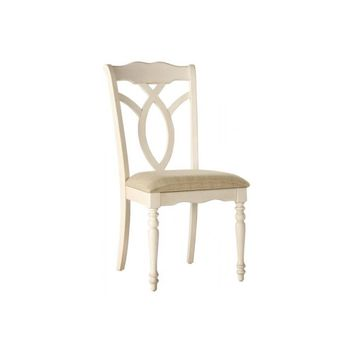 Transitional Style Wooden-Fabric Side Chair With Designer Back, Antique White