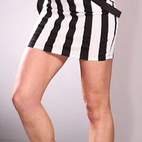 Black White Stripes Suspenders Sexy Mini Skirt