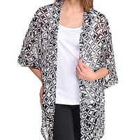 Peter Nygard Geo-Patch Print Sheer Chiffon Cardigan - Black/White