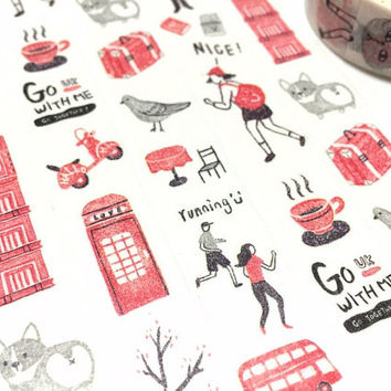 Enjoy UK travelling holiday washi tape 10M Travel planner tape Great Britain Big Ben building bus traveller planner masking decor tape gift