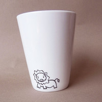 Lion hand painted white porcelain mug by PaintMyName on Etsy