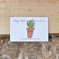 Illustrated cactus brooch/pin