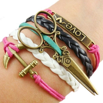 Vintage Infinity Love Anchor scissors Leather Charm Bracelet Bronze Chain = 1931846468