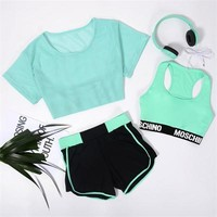 4PC Fitness Shorts+Gym Bra+Cropped T-Shirt+Headphone Set