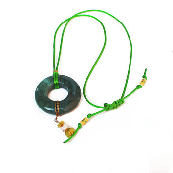 Green Jade, Doughnut Pendant, Large Jade, Silk Cord, Dangles, Macrame Clasp, Women Fashion , Women Jewelry, Boho Style, Beach Wedding, Long