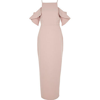 Light pink frill sleeve bodycon maxi dress - Bodycon Dresses - Dresses - women