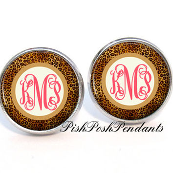 Monogram Earrings - Cheetah Coral Stud Earrings - Bridesmaid Gift - Monogram Jewelry - Style 382