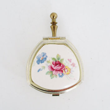 Pill Box Solid Perfume Compact Empty Compact Pill Box for Women Pill box with Handle Ceramic Rose Trinket Container Small Vanity Box