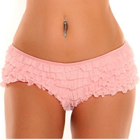 Plus Size Baby Pink Ruffle Panty with Bow