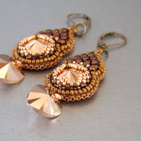 Free Shipping, Bead embroidery, Earring, Seed bead jewelry, Trending jewelry,  Swarovski, Rosegold, Bronze, Heart