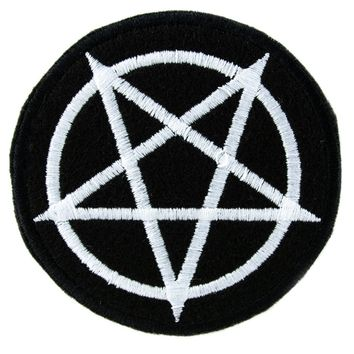 White Inverted Pentagram Patch Iron on Applique Alternative Clothing