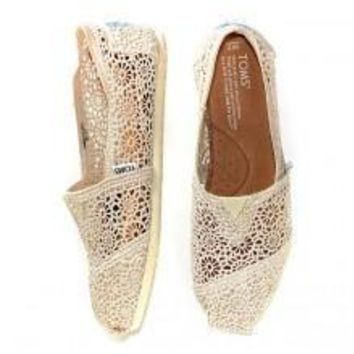 TOMS Natural Crochet Classics Flats Fashion hollow Summer Sexy Loose Shoes white-4