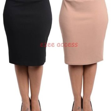 Sexy Women's Plus Size High Waisted Skirt Knee Length Pencil Fitted knit 1X2X,3X