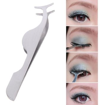 Stainless Steel False Eyelash Clip Clamp Makeup Tool Multifunctional Auxiliary Clip Tweezers Tool Stainless Steal Eyelash Curler