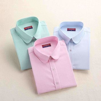 Women Blouse Women Oxford Shirt Slim Long Sleeved Blouse Turn Down Collar Simple Solid Color Twill