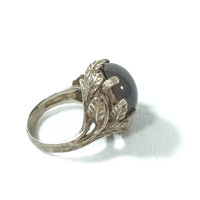 Art Nouveau Sterling Silver & Chalcedony Ring, Cast Sterling Leaves, Lavender Chalcedony, Statement Jewelry, Victorian Ring, Vintage Jewelry