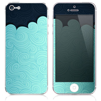 Blue Waves Print Skin for the iPhone 3gs, 4/4s, 5, 5s or 5c