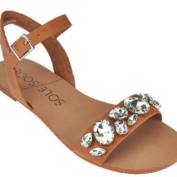 Sole Society Leather Quarter Strap Sandals - Gemma — QVC.com