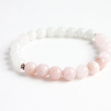Bliss Bracelet -- Rose Quartz and Rainbow Moonstone