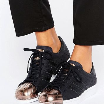 adidas Originals Black Metallic Superstar Trainers With Rose Gold Toe Cap  at asos.com ffdbed051
