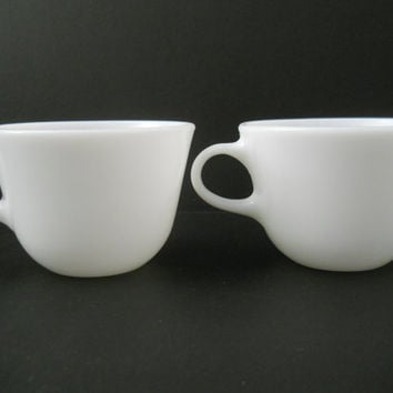 Pyrex Milk Glass Coffee Cup Pair Restaurant Ware VGC